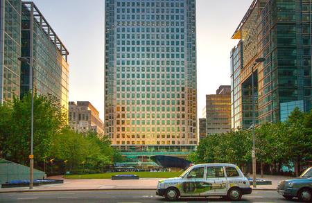 shard: LONDON, UK - APRIL 15, 2015: City of London office buildings at sunset