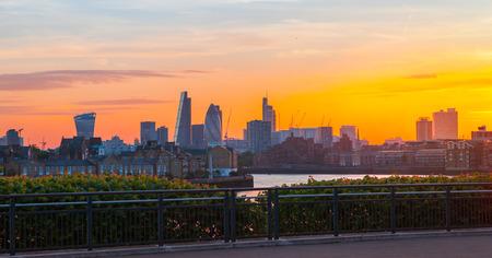 shard: City of London at sunset Stock Photo