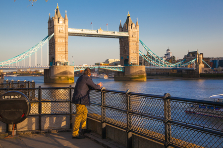 sunset city: Tower Bridge and River Thames at sunset, London Stock Photo
