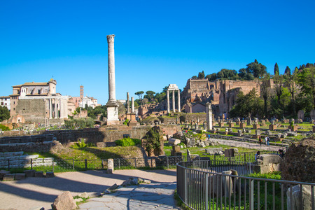 colonnade: ROME, ITALY - APRIL 8, 2016: Romans forum with ruins of important ancient government buildings started 7th century BC