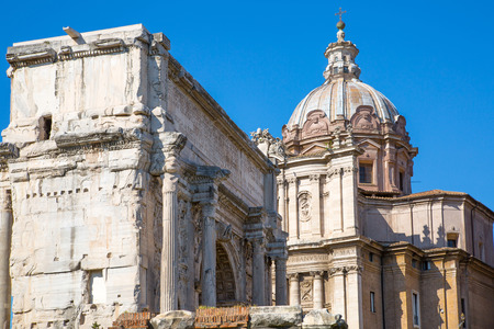 severus: ROME, ITALY - APRIL 8, 2016: Arch of Septimius Severus Romans forum with ruins of important ancient government buildings started 7th century BC Editorial