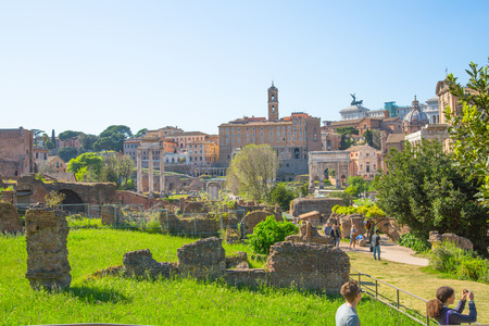 ROME, ITALY - APRIL 8, 2016: Romans forum with ruins of important ancient government buildings started 7th century BC
