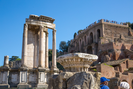 magnum: ROME, ITALY - APRIL 8, 2016: Ruins and Columns the Temple of Castor and Pollux Romans forum with ruins of important ancient government buildings started 7th century BC