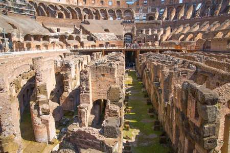 emporium: Ruins of Coliseum, panoramic view with underground levels of gladiators rooms and animals cages