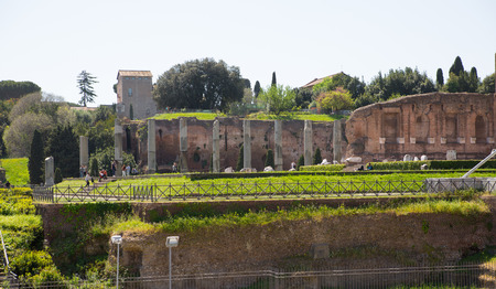 Romans forum with ruins of important ancient government buildings started 7th century BC Stock Photo