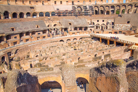 emporium: ROME, ITALY - APRIL 8, 2016: Ruins of Coliseum, panoramic view with underground levels of gladiators rooms and animals cages Editorial