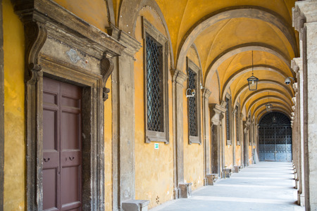 italian architecture: ROME, ITALY - APRIL 6, 2016:  inner yard facade of the Via del Corso. Italian architecture Editorial