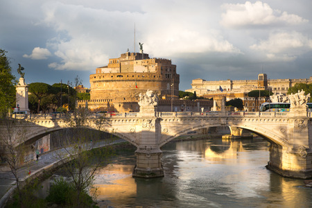 ROME, ITALY - APRIL 8, 2016: Castel SantAngelo (The Castle of the Holy Angel or Mausoleum of Hadrian) in Rome
