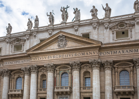 beatification: Facade of the Saint Peters Basilica and balcony where Pope stands, St.Peter Square, Rome. Vatican Editorial