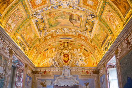 ROME, ITALY - APRIL 8, 2016: Museums of Vatican.  Detail of painted ceilling