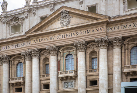 pontiff: Facade of the Saint Peters Basilica and balcony where Pope stands, St.Peter Square, Rome. Vatican Editorial