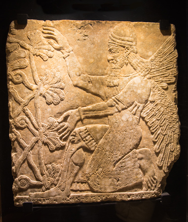 relief: ROME, ITALY - APRIL 8, 2016: Assyrian mythical deity Shedu. Relief from Palace of Assurbanipal in Nineveh, Assyria Editorial