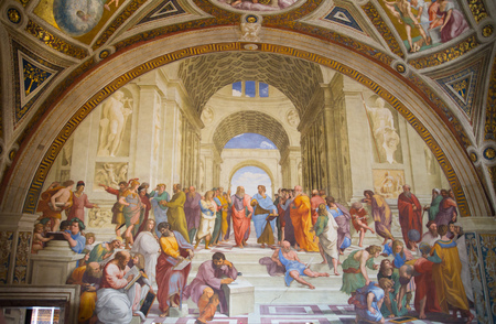 ROME, ITALY - APRIL 8, 2016: The School of Athens by Raphael. Museums of Vatican.  Detail of painted wall Sajtókép
