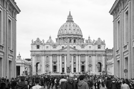 ROME, ITALY - APRIL 8, 2016: Saint Peters basilica in the St. Peter square. Vatican
