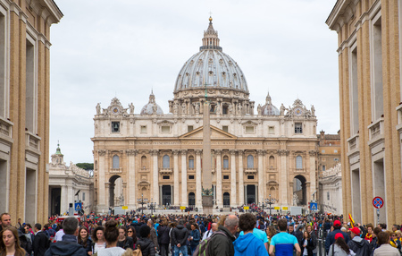 beatification: ROME, ITALY - APRIL 8, 2016: Saint Peters basilica in the St. Peter square. Vatican