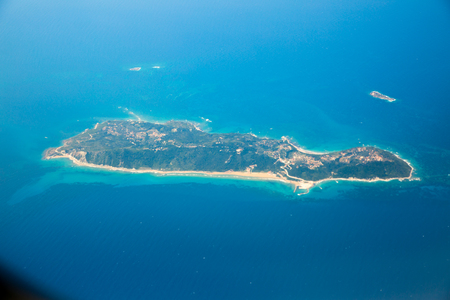 ionian island: Aerial view of the private island next to Corfu, Greece