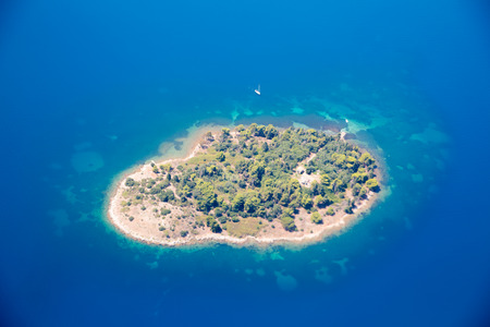 Aerial view of the private island next to Corfu, Greece