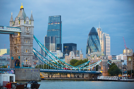 LONDON, UK - SEPTEMBER 20, 2015: City of London business and financial aria view from the River Thames embankment