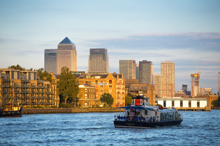 LONDON, UK - SEPTEMBER 19, 2015: Canary Wharf and river thames view Editorial