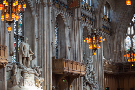 duke: LONDON, UK - SEPTEMBER 20, 2015: Interior of Guildhall Yard, dated back to 1396 year. Hall contains memorials to  Admiral Lord Nelson, the Duke of Wellington, William Beckford, and Winston Churchill.