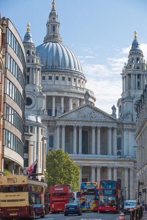 st pauls: LONDON, UK - SEPTEMBER 10, 2015: St. Pauls cathedral view from the High street of the City Editorial