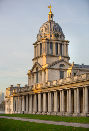 greenwich: LONDON, UK - OCTOBER 31, 2015: Royal Naval college in  Greenwich. View at sunset