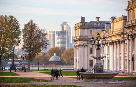 royal park: LONDON, UK - OCTOBER 31, 2015: Royal chapel, Painted hall and classic colonnade in the Greenwich park. View at sunset