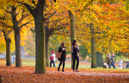 familias jovenes: LONDRES, Reino Unido - 31 de octubre, 2015: Dos chicas jóvenes caminando en el parque Londres de otoño. Las personas y familias caminar y disfrutar del clima Editorial