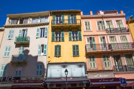 CANNES, FRANCE - 19 SEPTEMBER, 2016: Cannes. View the centre of the town with old colourful city houses.