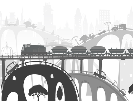 cargo transport: Train in the City, transport and cargo concept