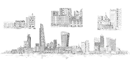 canary: Modern London. City of London and Canary Wharf with crane and building sites of new developments