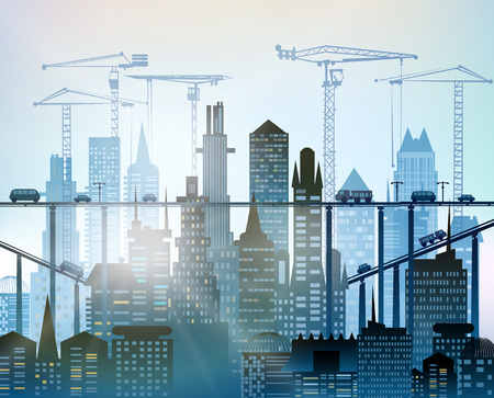 sites: City, Building site with cranes. City background Stock Photo