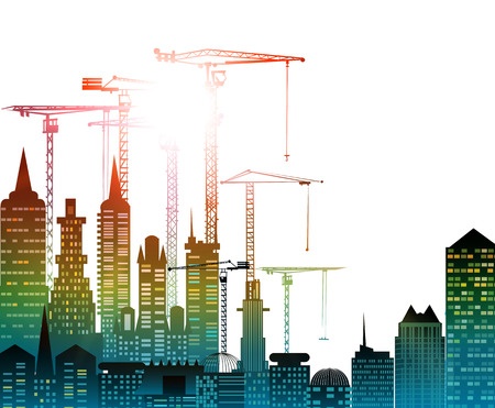 city building: City, Building site with cranes. City background Stock Photo