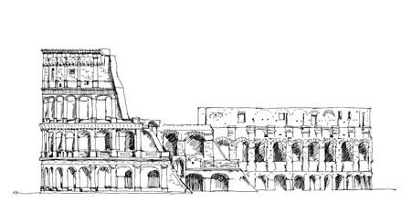 sketch drawing: Ruins of Coliseum. Sketch collection Stock Photo