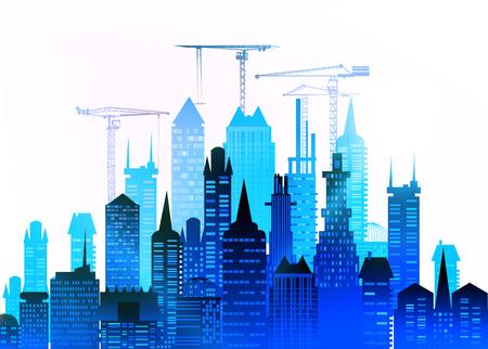 City, Baustelle mit Kränen. Stadt Hintergrund