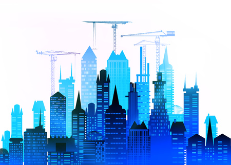 building site: City, Building site with cranes. City background Stock Photo