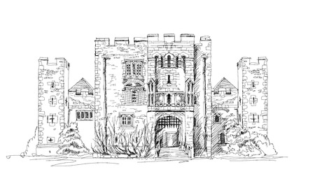 tudor: Hever castle, 13th century castle with Tudor manor house, UK. Sketch collection Stock Photo