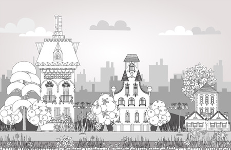 office environment: Doodle of beautiful city with very detailed and ornate town houses, trees and lanterns. City background