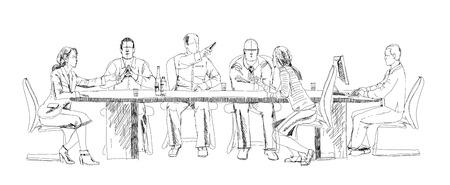 hablando por telefono: Siluetas de hombres de negocios exitosos que trabajan en la reunión. Bosquejo