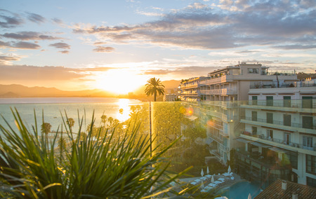 alpes maritimes: Cannes bay French riviera at sunset. France.