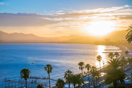 maritimes: Cannes bay French riviera at sunset. France.