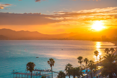 Cannes bay French riviera at sunset. France.
