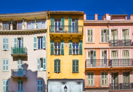 nice weather: CANNES, FRANCE - 19 SEPTEMBER, 2016: Cannes. View the centre of the town with old colourful city houses.