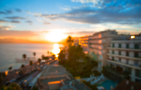 maritimes: Cannes bay French riviera at sunset. France. Blurred image for background Stock Photo
