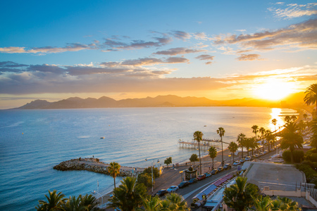 seafronts: Cannes bay French riviera at sunset. France.