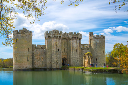 english culture: BODIAM, UK - 1 MAY, 2016:  Bodiam Castle 14th-century moated fortification.  England Editorial