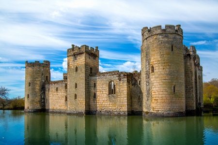 BODIAM, UK - 1 MAY, 2016:  Bodiam Castle 14th-century moated fortification.  England Editorial