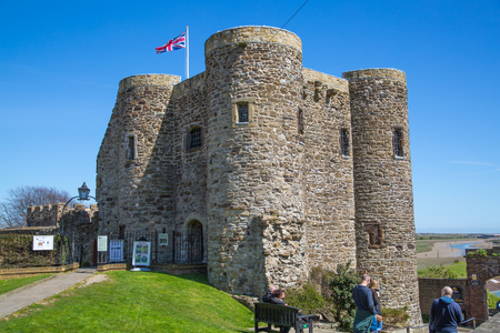 rye: RYE, UK - 1 MAY, 2016: Castle of Rye  with people passing by Editorial