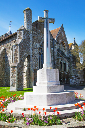 cemetry: RYE, UK - 1 MAY, 2016: St. Mary church view and War monument