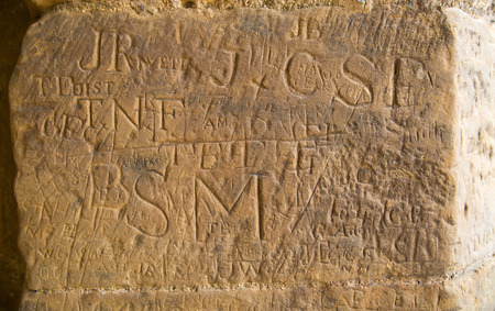 runes: 18th century runes of English soldiers left on the walls of Bodiam castle Stock Photo